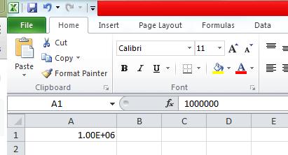 Using the 1e6 shorthand for 1000000